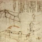 Concept de la machine volante, imaginée par Leonard de Vinci, inspirée des ailes de chauve souris