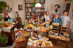 The Sturm Family of Hamburg, Germany. Astrid Hollmann, 38, and Michael Sturm, 38, and their three children Lenard, 12, Malte Erik, 10, and Lillith, 2.5, with their typical week�s worth of food in June. ONE WEEK�S FOOD IN JUNE Food Expenditure for One Week: � 253.29 ($325.81 USD) Model Released.