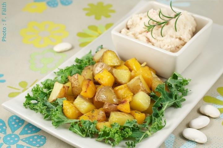 Potiron et pommes de terre rôtis «fraîcheur», et mayonnaise de haricots blancs